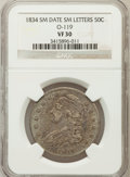 Bust Half Dollars, 1834 50C Small Date, Small Letters VF30 NGC. O-119. PCGS Population(34/824). (#6166)...