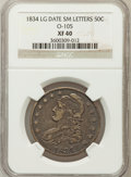 Bust Half Dollars, 1834 50C Large Date, Small Letters XF40 NGC. O-105. NGC Census:(44/676). PCGS Population (99/637)....