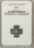 Seated Half Dimes: , 1838 H10C Large Stars, No Drapery XF45 NGC. NGC Census: (9/609).PCGS Population (24/470). Mintage: 2,225,000. Numismedia W...