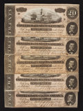 Confederate Notes:1864 Issues, T67 $20 1864 PF-15 Cr. 515 Five Examples.. ... (Total: 5 notes)