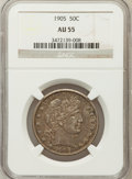 Barber Half Dollars: , 1905 50C AU55 NGC. NGC Census: (4/62). PCGS Population (11/102).Mintage: 662,000. Numismedia Wsl. Price for problem free N...