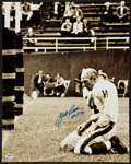 Football Collectibles:Photos, Y.A. Tittle Signed Oversized Photograph. ...