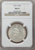 Seated Half Dollars: , 1877-S 50C MS63 NGC. NGC Census: (73/135). PCGS Population(76/113). Mintage: 5,356,000. Numismedia Wsl. Price for problem ...