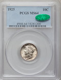 Mercury Dimes: , 1925 10C MS64 PCGS. CAC. PCGS Population (50/25). NGC Census:(46/40). Mintage: 25,610,000. Numismedia Wsl. Price for probl...