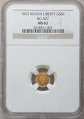 California Fractional Gold: , 1852 50C Liberty Round 50 Cents, BG-407, R.4, MS62 NGC. NGC Census:(5/3). PCGS Population (29/14). (#10443)...