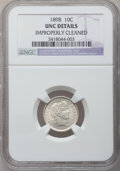Barber Dimes: , 1898 10C -- Improperly Cleaned -- NGC Details. UNC. NGC Census:(1/369). PCGS Population (7/398). Mintage: 16,320,735. Numi...