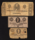 Confederate Notes:1862 Issues, T55 $1 1862;. T63 50¢ 1863;. T72 50¢ 1864.. ... (Total: 3 notes)