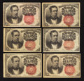Fractional Currency:Fifth Issue, Six 10¢ Fifth Issue Notes Very Fine.. ... (Total: 6 notes)