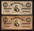 Confederate Notes:1864 Issues, T66 $50 1864 PF-1 Cr. 495 Two Examples.. ... (Total: 2 notes)