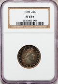 Proof Barber Quarters, 1908 25C PR67 ★ NGC. NGC Census: (20/4). PCGS Population (13/5). Mintage: 545. Numismedia ...