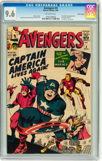 The Avengers #4 Pacific Coast pedigree (Marvel, 1964) CGC NM+ 9.6 Off-white pages