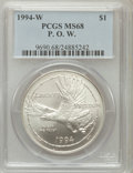 Modern Issues: , 1994-W $1 P.O.W. Silver Dollar MS68 PCGS. PCGS Population(51/1825). NGC Census: (12/1594). Mintage: 54,790. NumismediaWsl...