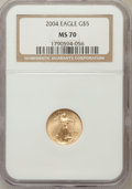 Modern Bullion Coins, 2004 G$5 Tenth-Ounce Gold Eagle MS70 NGC. NGC Census: (3697). PCGSPopulation (240). Numismedia Wsl. Price for problem fre...