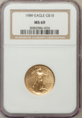 Modern Bullion Coins: , 1989 G$10 Quarter-Ounce Gold Eagle MS69 NGC. NGC Census: (986/28).PCGS Population (1255/40). Mintage: 81,789. Numismedia W...