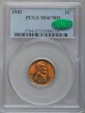 Lincoln Cents: , 1942 1C MS67 Red PCGS. CAC. PCGS Population (126/0). NGC Census:(770/0). Mintage: 657,828,608. Numismedia Wsl. Price for p...