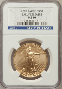 2009 $50 One-Ounce Gold Eagle Early Releases MS70 NGC. NGC Census: (0). PCGS Population (225). (#404443)...(PCGS# 404443...