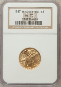 1987-W G$5 Constitution Gold Five Dollar MS70 NGC. NGC Census: (4890). PCGS Population (1204). Mintage: 214,225. Numisme...