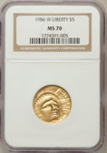 Modern Issues: , 1986-W G$5 Statue of Liberty Gold Five Dollar MS70 NGC. NGC Census: (1983). PCGS Population (300). Mintage: 95,248. Numisme...