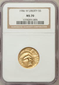 1986-W G$5 Statue of Liberty Gold Five Dollar MS70 NGC. NGC Census: (1983). PCGS Population (300). Mintage: 95,248. Numi...