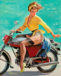 Pin-up and Glamour Art, GIL ELVGREN (American, 1914-1980). Skirting the Issue (BreezingUp), 1956. Oil on canvas. 30 x 24 in.. Signed lower left...