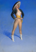 Pin-up and Glamour Art, ROLF ARMSTRONG (American, 1889-1960). Hi, Neighbor!, Brown &Bigelow calendar pin-up, circa 1944. Pastel on board. 42 x ...