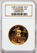 Modern Bullion Coins: , 2000-W G$50 One-Ounce Gold Eagle PR69 Ultra Cameo NGC. NGC Census: (893/491). PCGS Population (1480/109). Numismedia Wsl. ...