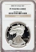 Modern Bullion Coins: , 2003-W $1 Silver Eagle PR70 Ultra Cameo NGC. NGC Census: (7311).PCGS Population (1125). Numismedia Wsl. Price for problem...