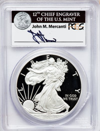 2012-W $1 Silver Eagle, First Strike, Insert autographed by John M. Mercanti, 12th Chief Engraver of the U.S. Mint PR69...