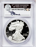 Modern Bullion Coins, 2012-W $1 Silver Eagle, First Strike, Insert autographed by John M. Mercanti, 12th Chief Engraver of the U.S. Mint PR70 Deep ...
