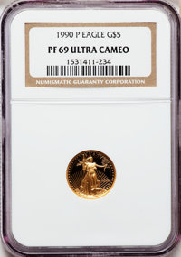 1990-P G$5 Tenth-Ounce Gold Eagle PR69 Ultra Cameo NGC. NGC Census: (1844/1029). PCGS Population (3473/280). Mintage: 99...