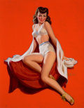 Pin-up and Glamour Art, AL BUELL (American, 1910-1996). Brunette Pin-Up, circa 1940.Oil on canvas. 32 x 25 in.. Signed lower right. ...