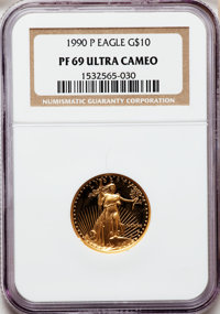 1990-P G$10 Quarter-Ounce Gold Eagle PR69 Ultra Cameo NGC. NGC Census: (2007/457). PCGS Population (3080/121). Mintage:...