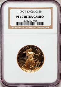 1990-P G$25 Half-Ounce Gold Eagle PR69 Ultra Cameo NGC. NGC Census: (2672/159). PCGS Population (3265/51). Mintage: 51,6...