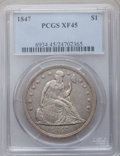 Seated Dollars: , 1847 $1 XF45 PCGS. PCGS Population (103/296). NGC Census: (52/279).Mintage: 140,750. Numismedia Wsl. Price for problem fre...