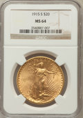 Saint-Gaudens Double Eagles: , 1915-S $20 MS64 NGC. NGC Census: (5483/1772). PCGS Population(4090/2098). Mintage: 567,500. Numismedia Wsl. Price for prob...