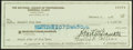 Baseball Collectibles:Others, 1987 Bart Giamatti Signed Check....
