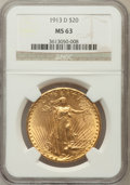 Saint-Gaudens Double Eagles: , 1913-D $20 MS63 NGC. NGC Census: (1085/992). PCGS Population(1211/1613). Mintage: 393,500. Numismedia Wsl. Price for probl...