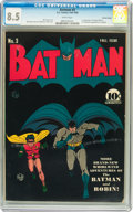 Golden Age (1938-1955):Superhero, Batman #3 Central Valley pedigree (DC, 1940) CGC VF+ 8.5 White pages....