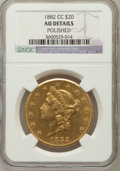 Liberty Double Eagles, 1882-CC $20 -- Polished -- NGC Details. AU. NGC Census: (85/643).PCGS Population (104/311). Mintage: 39,140. Numismedi...