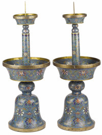 A Pair of Chinese Cloisonné Candlesticks  Unknown maker, Chinese Circa 1900 Cloisonne enamel Unmarked 28 inches h...