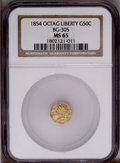 California Fractional Gold: , 1854 50C Liberty Octagonal 50 Cents, BG-305, Low R.4, MS65 NGC.PCGS Population (0/1). (#10425)...