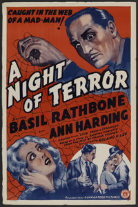 """A Night of Terror (Guaranteed Pictures, R-1930s). One Sheet (27"""" X 41""""). Thriller"""