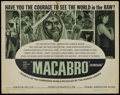 "Movie Posters:Documentary, Macabro (Trans American, 1966). Half Sheet (22"" X 28""). Documentary. ..."