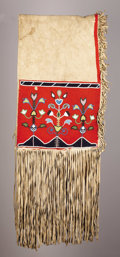 American Indian Art:Beadwork, A BLACKFEET BEADED HIDE DOUBLE SADDLE BAG. . c. 1890. ...