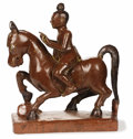 Asian, A Burmese Lacquered Wood Horse and Rider. Unknown maker, Burmese.18th century. Lacquer with gilding. Unmarked. 18 inches ...