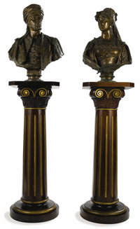 A Pair of Bronze Busts Depicting Othello and Desdemona  Cast by Fratelli Galli, Florence, Italy Late 19th ce