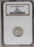 Bust Dimes: , 1821 10C Large Date AU55 NGC. NGC Census: (19/120). PCGS Population(20/78). Mintage: 1,186,512. Numismedia Wsl. Price: $65...