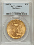 Saint-Gaudens Double Eagles: , 1908-D $20 No Motto MS64 PCGS. PCGS Population (1365/261). NGCCensus: (612/47). Mintage: 663,750. Numismedia Wsl. Price fo...