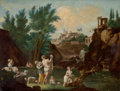 Fine Art - Painting, European:Other , CONTINENTAL SCHOOL (19th Century). Landscape with Bathers.Oil on canvas . 18-1/2 x 24 inches (47.0 x 61.0 cm). ...