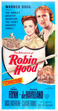"Movie Posters:Swashbuckler, The Adventures of Robin Hood (Warner Brothers, R-1948). Three Sheet (41"" X 81"").. ..."